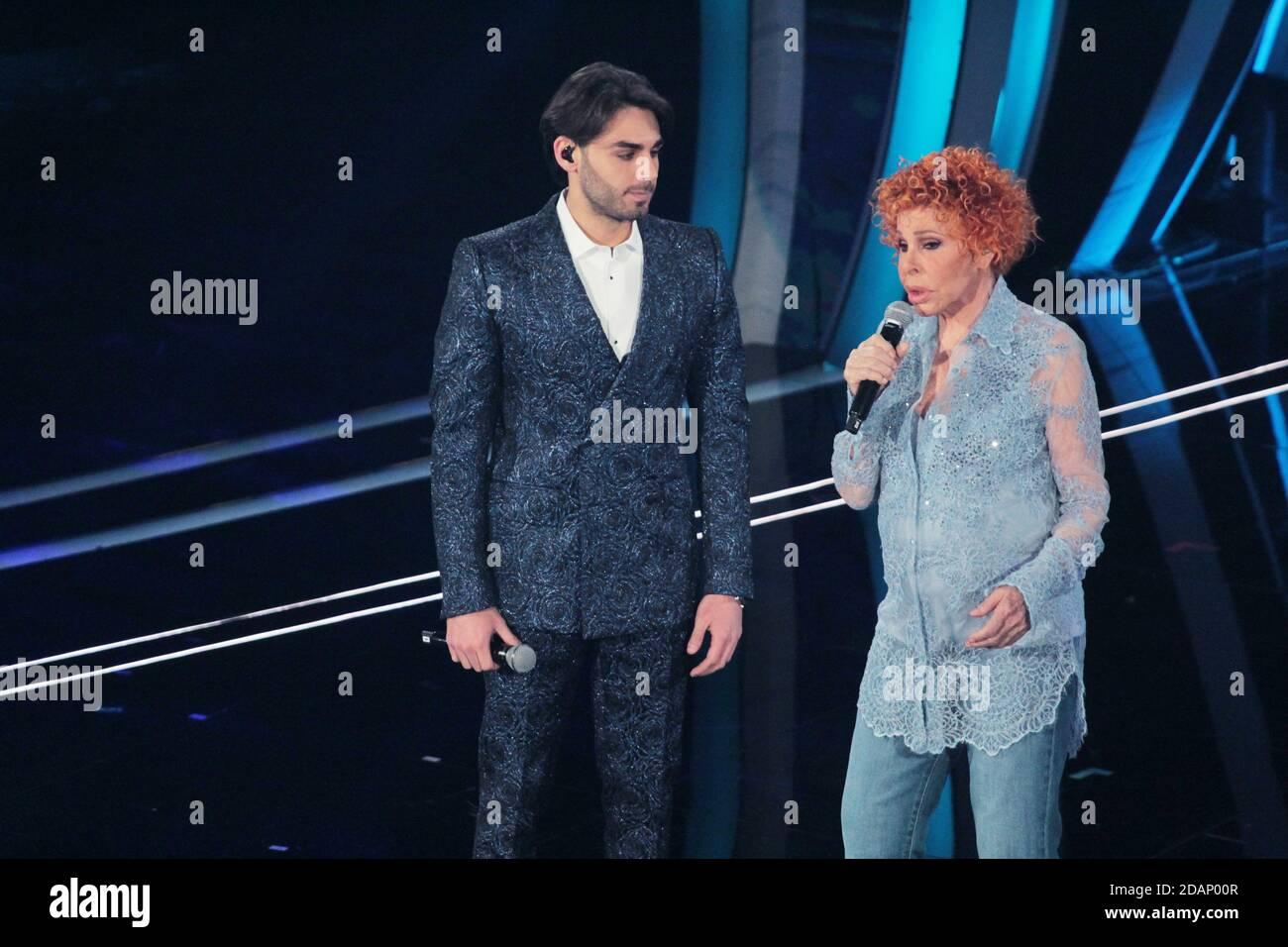 Alberto Urso e Ornella Vanoni a Sanremo 2020 Serata Cover Stock Photo