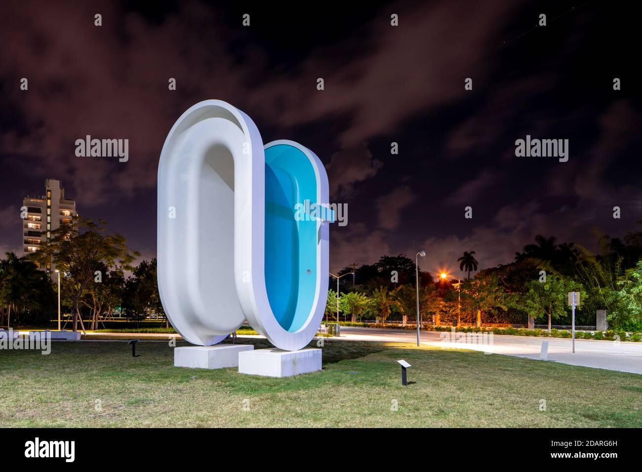 MIAMI BEACH, FL, USA - NOVEMBER 13, 2020: Bent shape swimming pool at at Convention Center Park Miami Beach FL Stock Photo