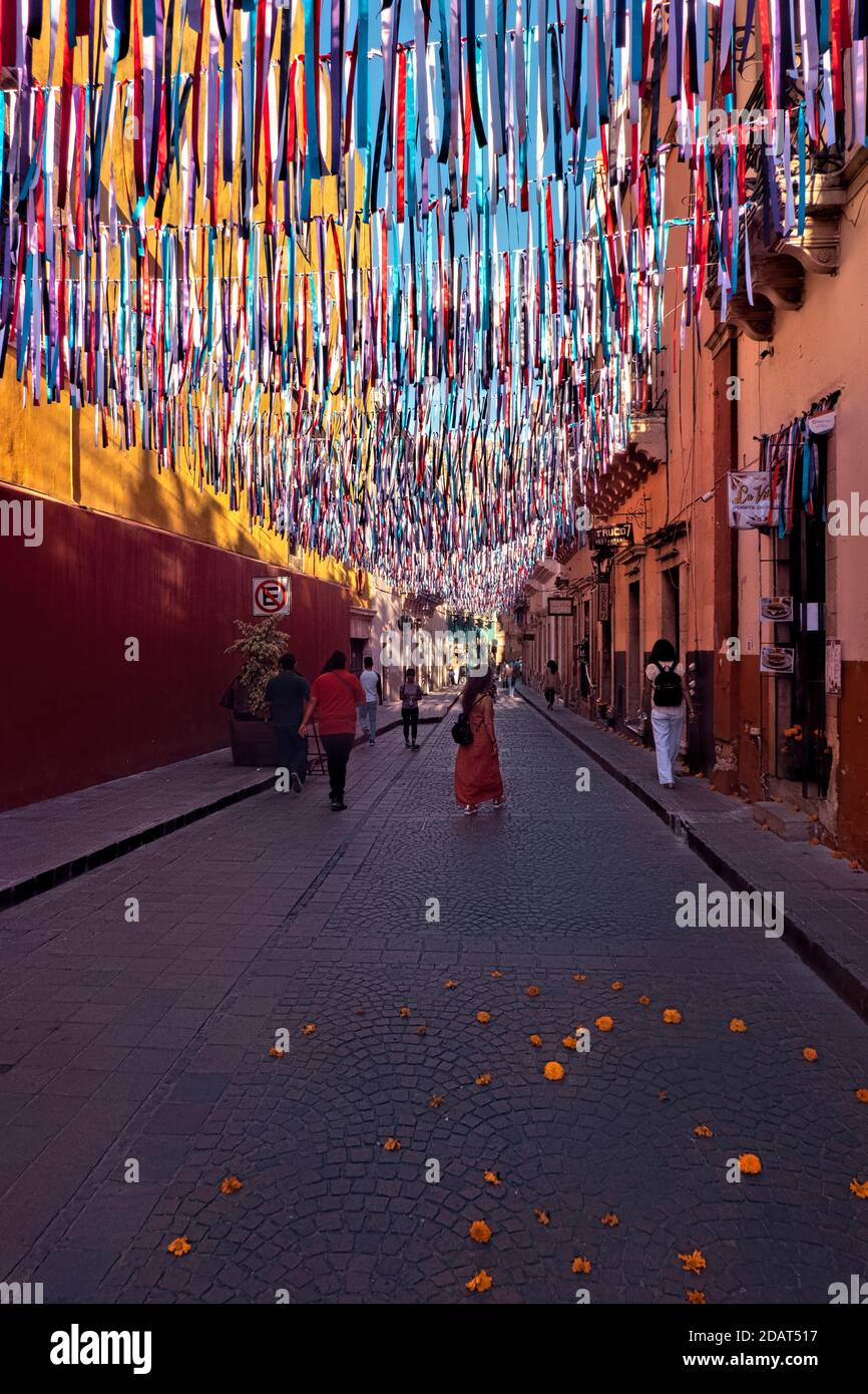Colorful alleyway during Day of the Dead celebration in UNESCO World Heritage Guanajuato, Mexico Stock Photo