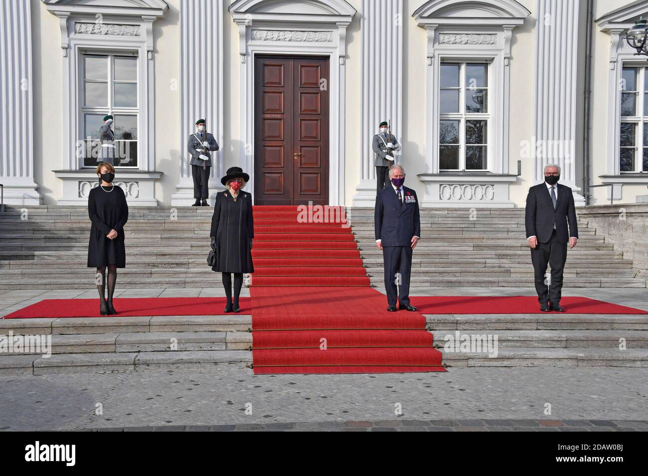 Berlin, Germany. 15th Nov, 2020. First Lady Elke Büdenbender, Camilla, Duchess of Cornwall, Charles, Prince of Wales and Federal President Frank-Walter Steinmeier at the reception at the Federal President of Germany in Bellevue Palace on November 15, 2020 in Berlin, Germany Credit: Geisler-Fotopress GmbH/Alamy Live News Stock Photo