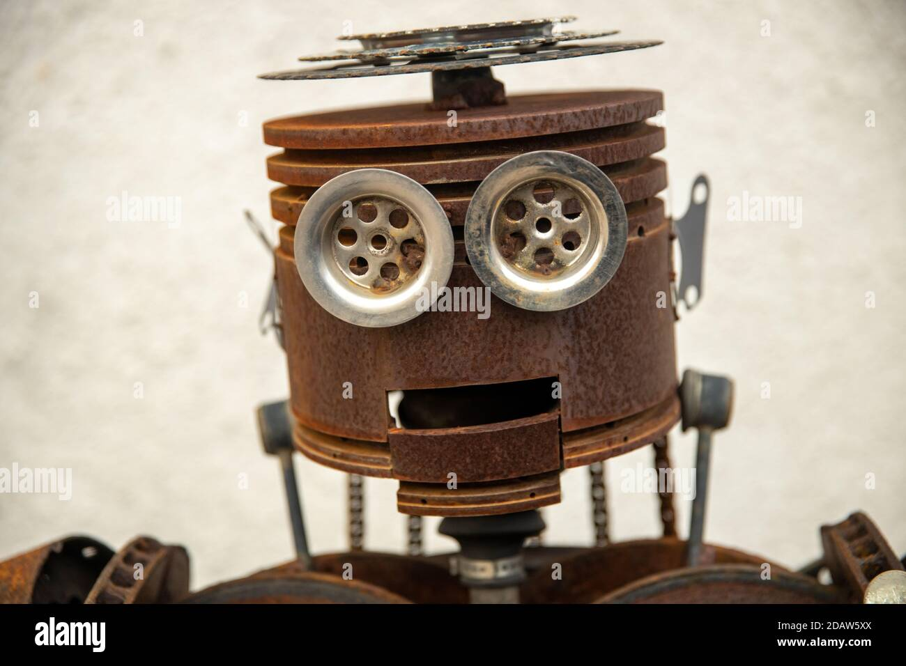 Russia. Vyborg. 10.10.2020 Statue of a robot assembled from auto parts Stock Photo