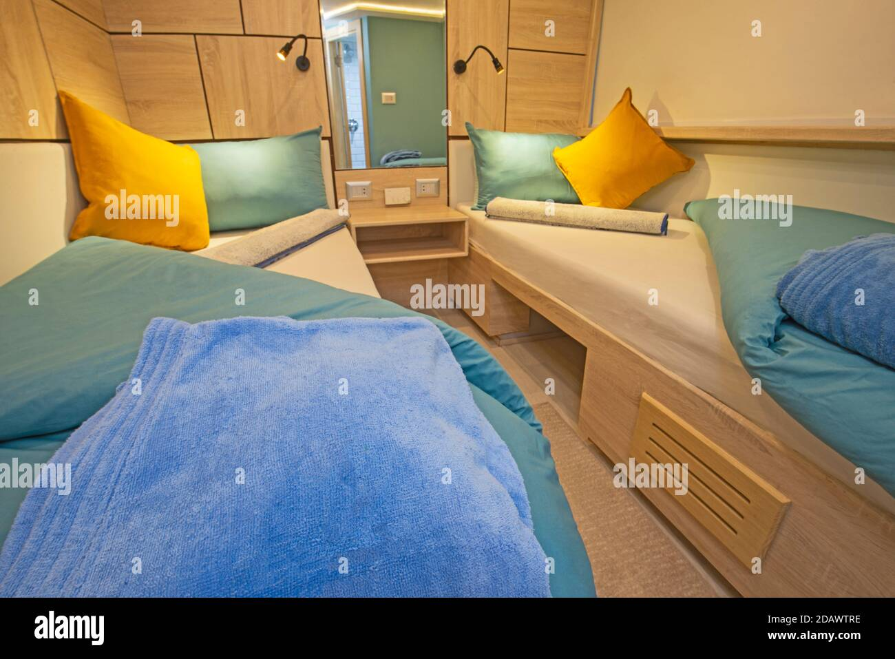 Interior Of Cabin Bedroom On Luxury Sailing Yacht With Twin Beds Stock Photo Alamy