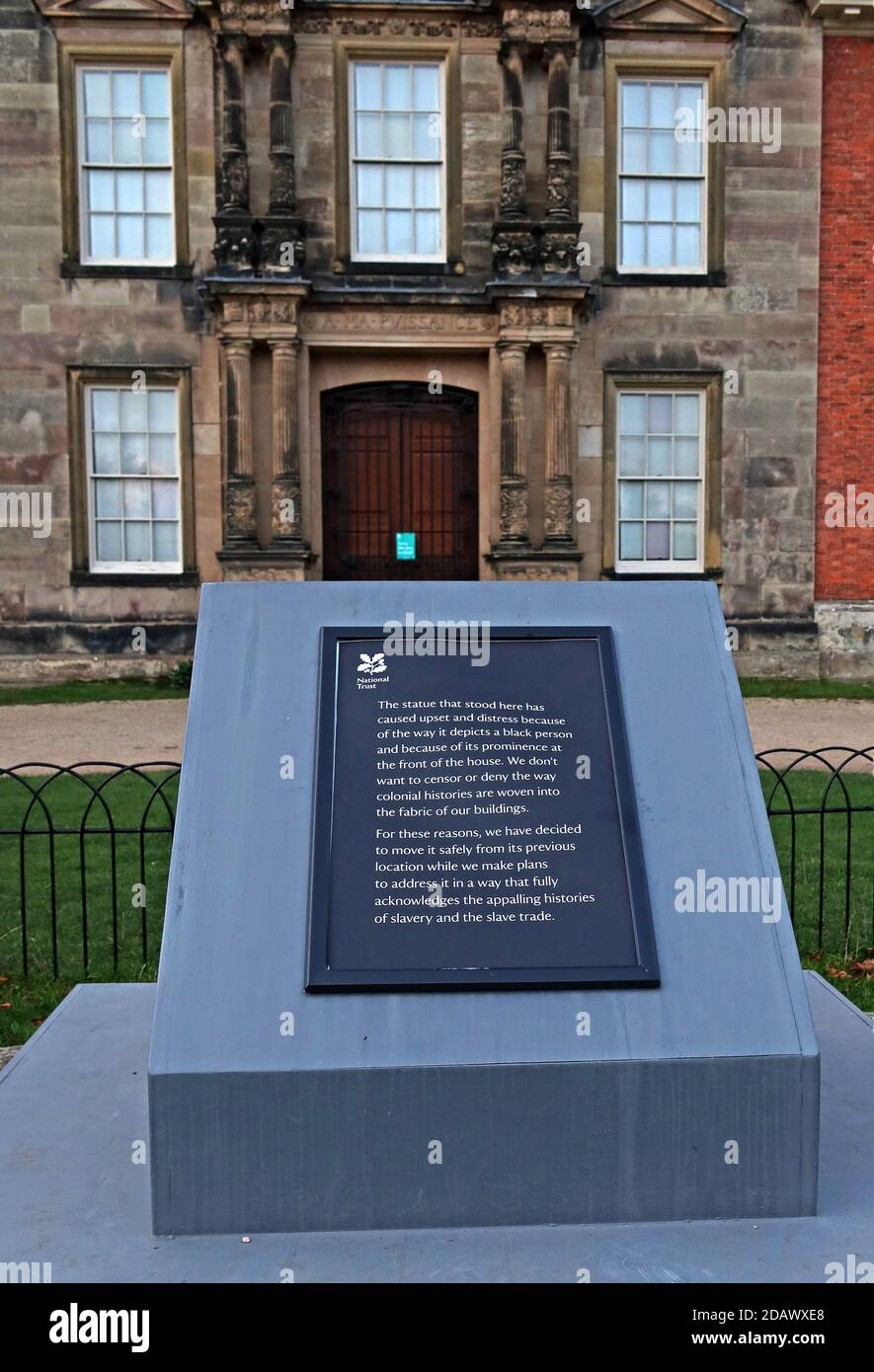 BLM,Black Lives Matter,plaque,Statue removed at Dunham Massey,black slave boy,Altrincham, Greater Manchester,England,UK, WA14 4SJ Stock Photo