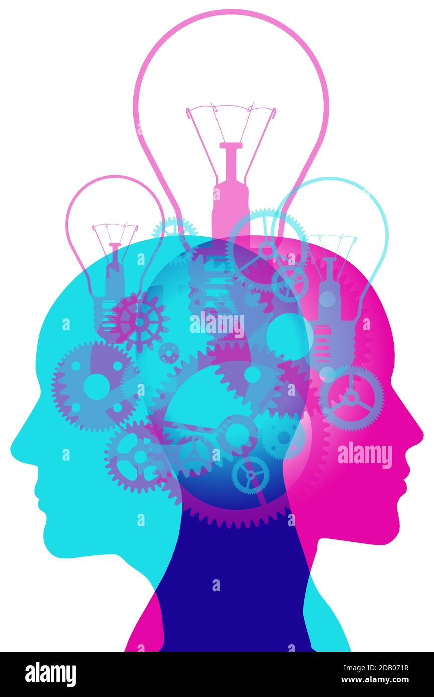 A male and female side silhouette positioned back to back, overlaid with various sized light bulb and gears detail shapes. Stock Vector