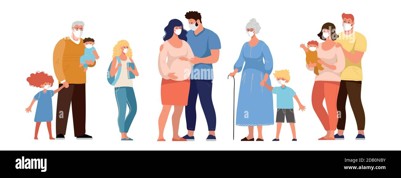 Family, grandparents with grandchildren, pregnant woman, people in medical masks, protection against the spread of coronavirus. Flat cartoon vector characters isolated on white background Stock Vector