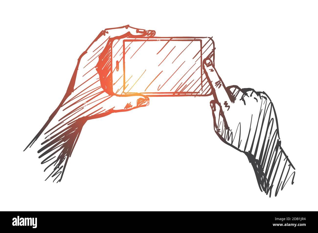 Hand drawn gadget in human hands Stock Vector