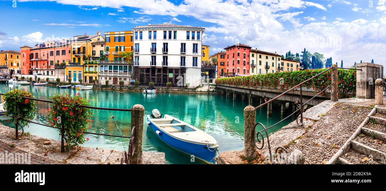 Peschiera del Garda - charming village with colorful houses in beautiful lake Lago di Garda. Verona province, Italy Stock Photo