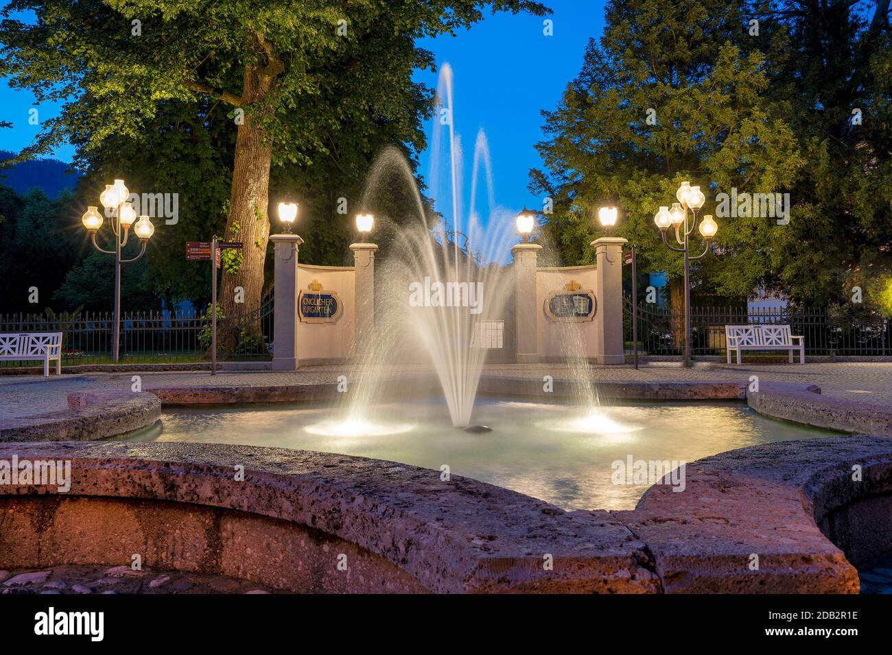 Fountain at the entrance of the spa gardens at night. Bad Reichenhall, Upper Bavaria Stock Photo