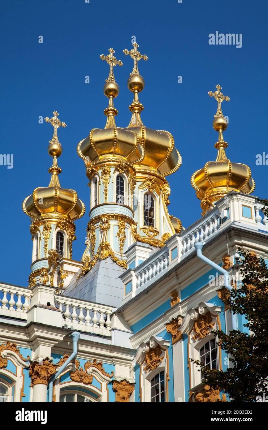 Imperial Court Church of the Resurrection in the Great (Catherine) Palace of Tsarskoe Selo, Pushkin, Russia. Stock Photo