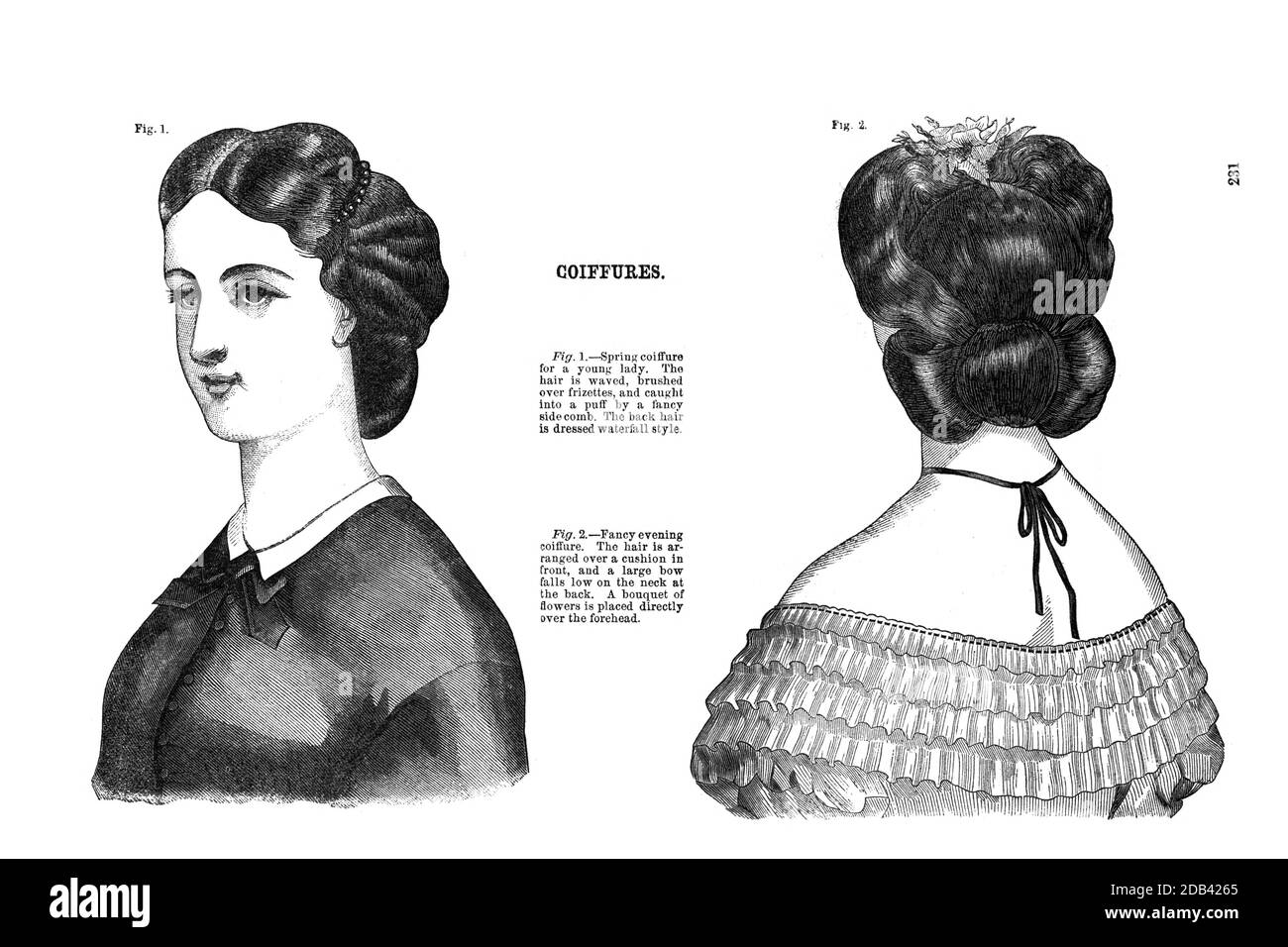 Coiffures - woman's hairstyling from Godey's Lady's Book and Magazine, Marc, 1864, Volume LXIX, (Volume 69), Philadelphia, Louis A. Godey, Sarah Josepha Hale, Stock Photo