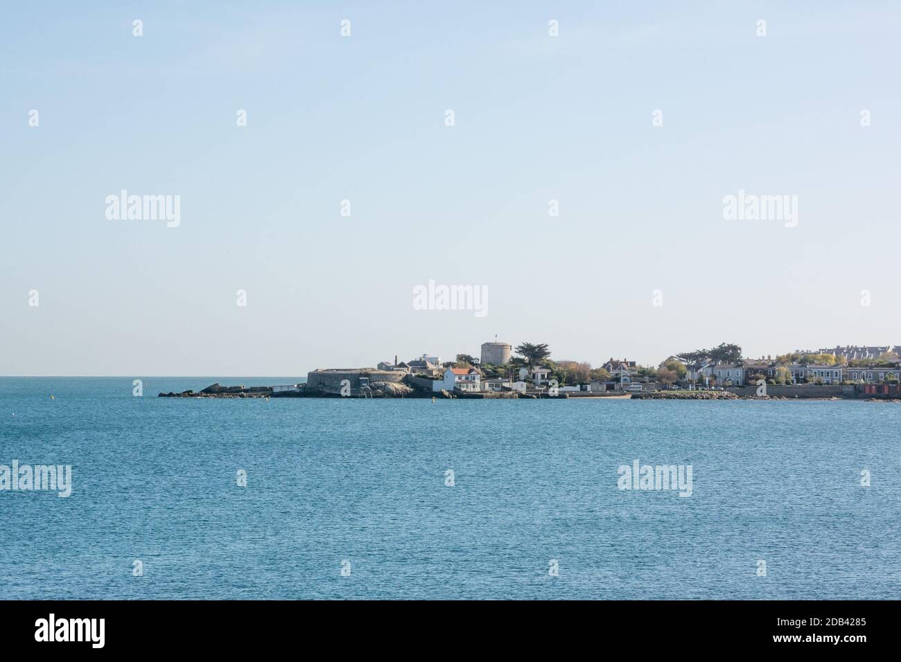 View of Sandycove, the Forty Foot and the Joyce Tower from the East Pier at Dun Laoghaire in County Dublin, Ireland Stock Photo