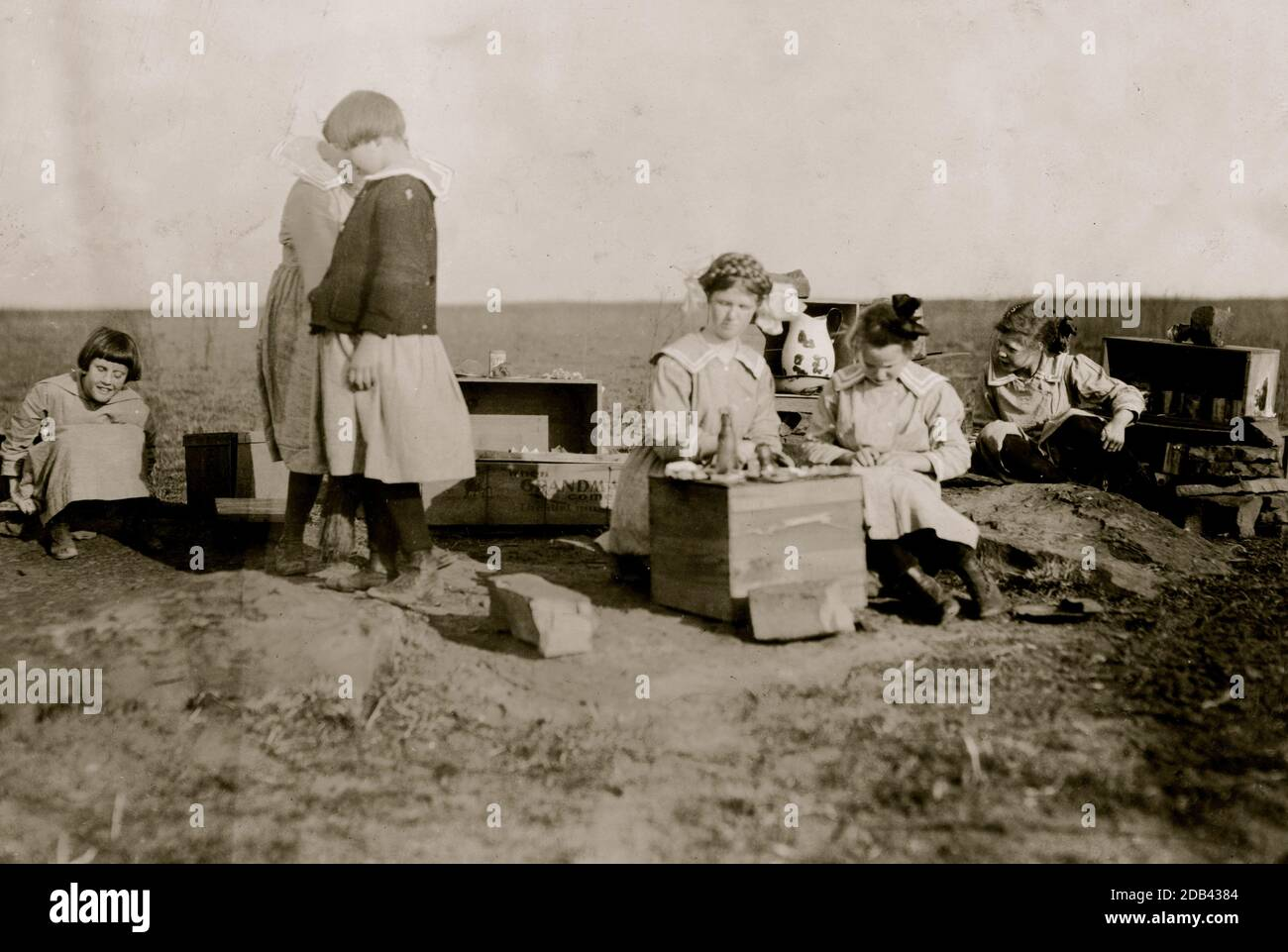 Original play houses conceived and executed by girls at the Oklahoma School for the Blind. . Stock Photo