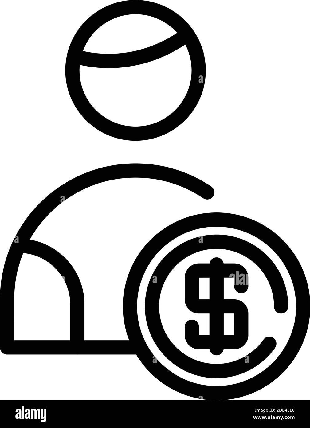 Dollar holder icon. Outline dollar holder vector icon for web design isolated on white background Stock Vector