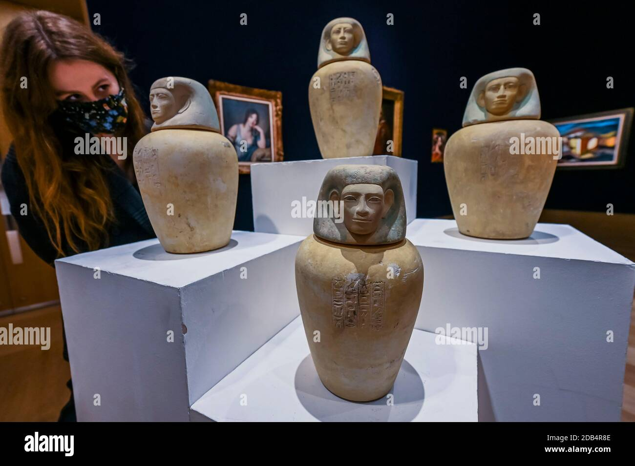London, UK. 16th Nov, 2020. A set of four Egyptian limestone canopic jars Middle Kingdom, 12th Dynasty, circa 1939-1760 B.C., est £80-120,000 - Preview of Bonhams' Antiquities Sale. The sale will take place on 01 December online from New Bond Street. Credit: Guy Bell/Alamy Live News Stock Photo