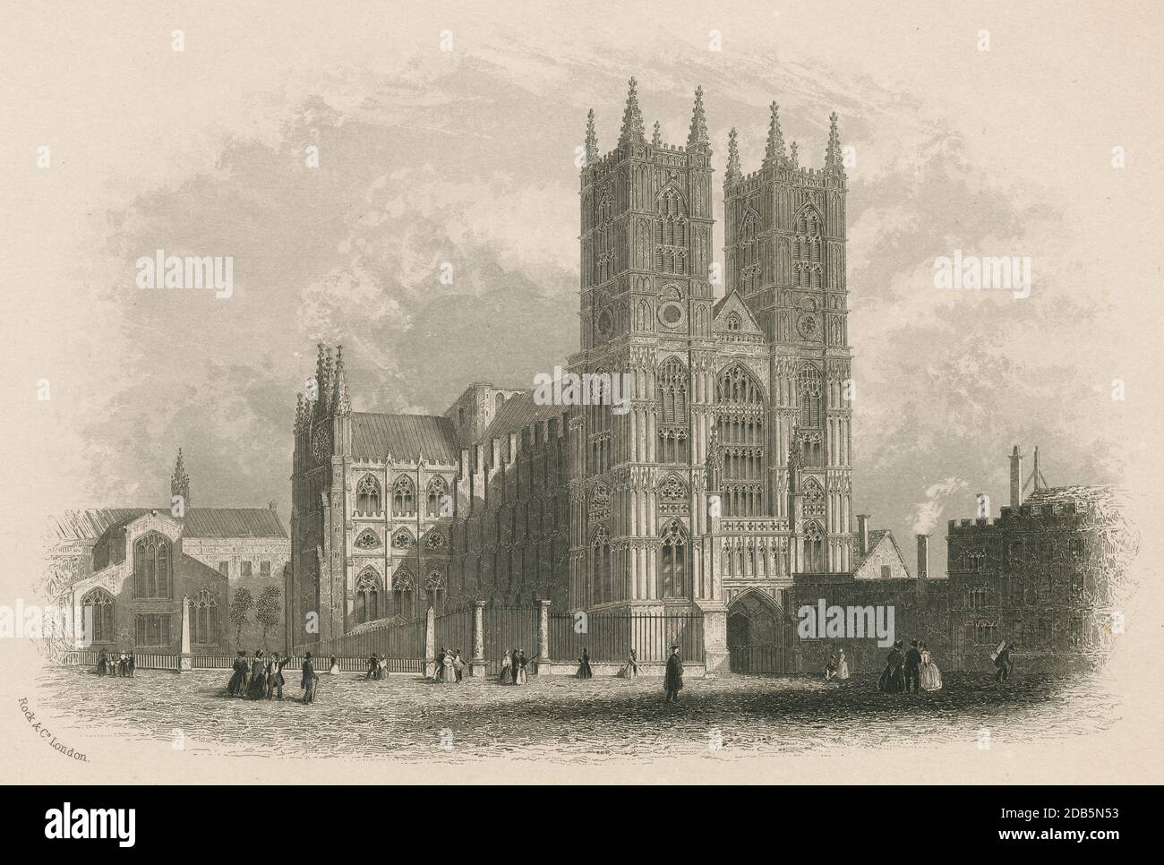 Antique c1850 engraving, Westminster Abbey. Westminster Abbey, formally titled the Collegiate Church of Saint Peter at Westminster, is a large, mainly Gothic abbey church in the City of Westminster, London, England. SOURCE: ORIGINAL ENGRAVING Stock Photo