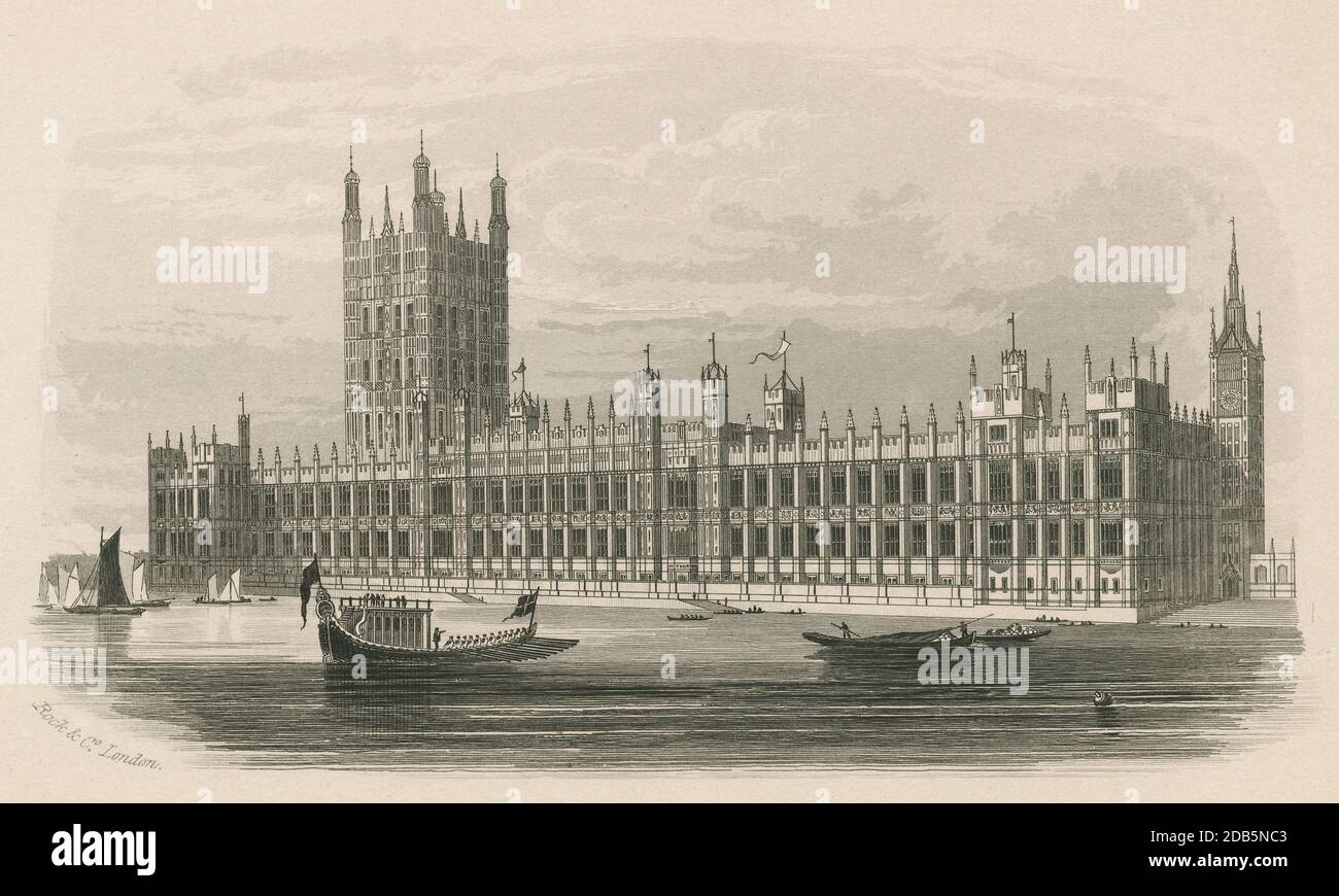 Antique c1850,  engraving, The New Houses of Parliament. The Palace of Westminster serves as the meeting place for the two houses of the Parliament of the United Kingdom. It lies on the north bank of the River Thames in the City of Westminster, in central London, England. SOURCE: ORIGINAL ENGRAVING Stock Photo