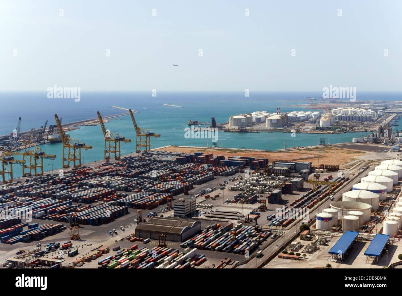 Container, commercial, industrial and logistics sea Port of Barcelona, Spain (ES). aerial view. Stock Photo