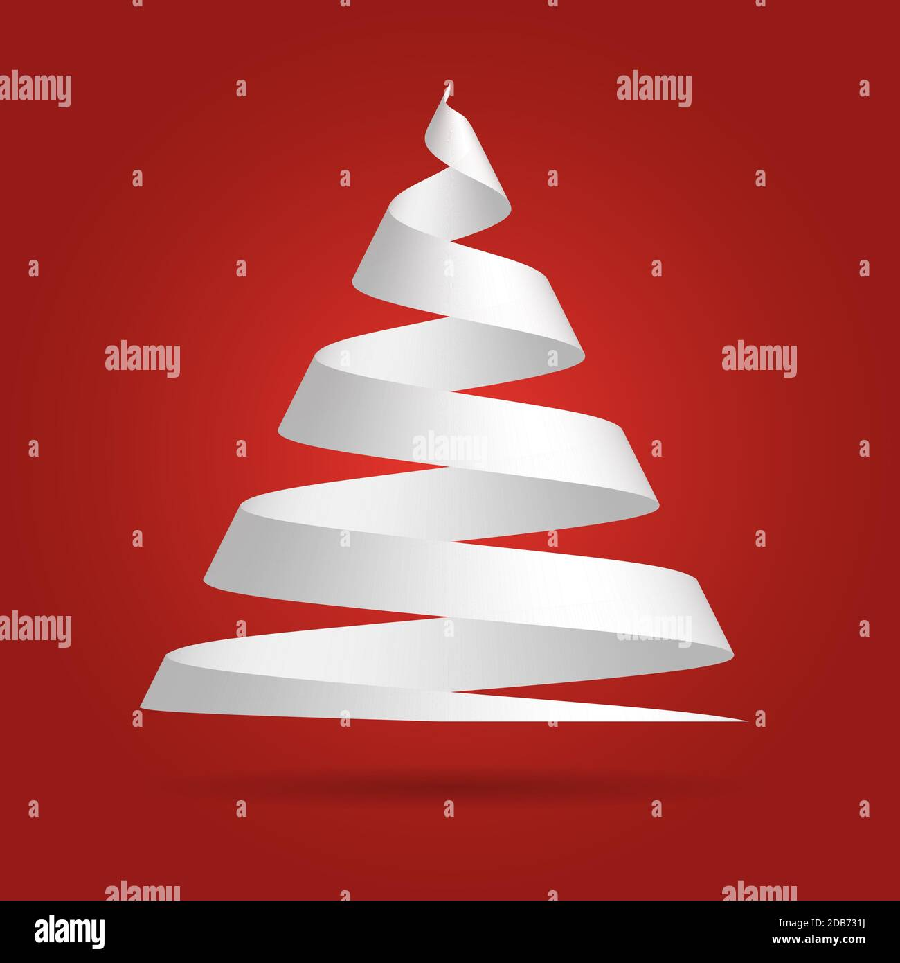 Simple Red Paper Ribbon Folded In A Shape Of Christmas Tree Merry Christmas Theme 3d Vector Illustration With Dropped Shadow And Red Gradient Background Stock Vector Image Art Alamy