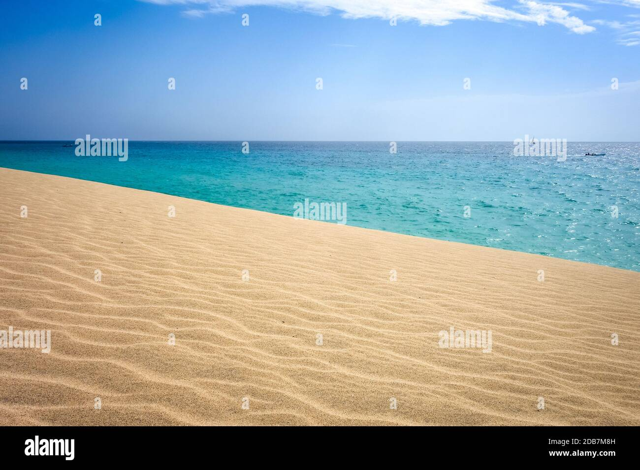 Ponta preta beach and dune in Santa Maria, Sal Island, Cape Verde, Africa Stock Photo