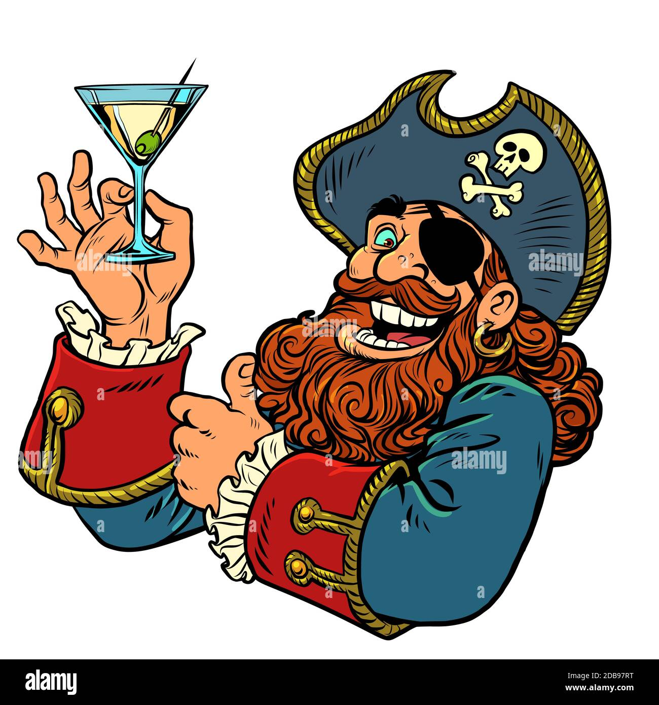 pirate funny character. alcoholic cocktail. Comics caricature pop art retro illustration drawing Stock Photo