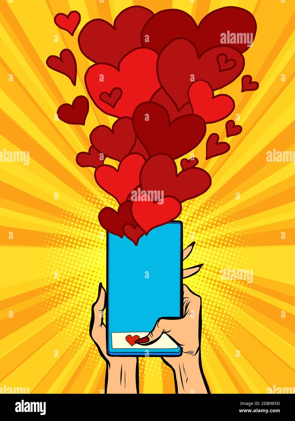 Phone Hearts Social Networks Sympathy Connections Comic Cartoon Pore Art Retro Vector Kitsch Vintage Stock Photo Alamy