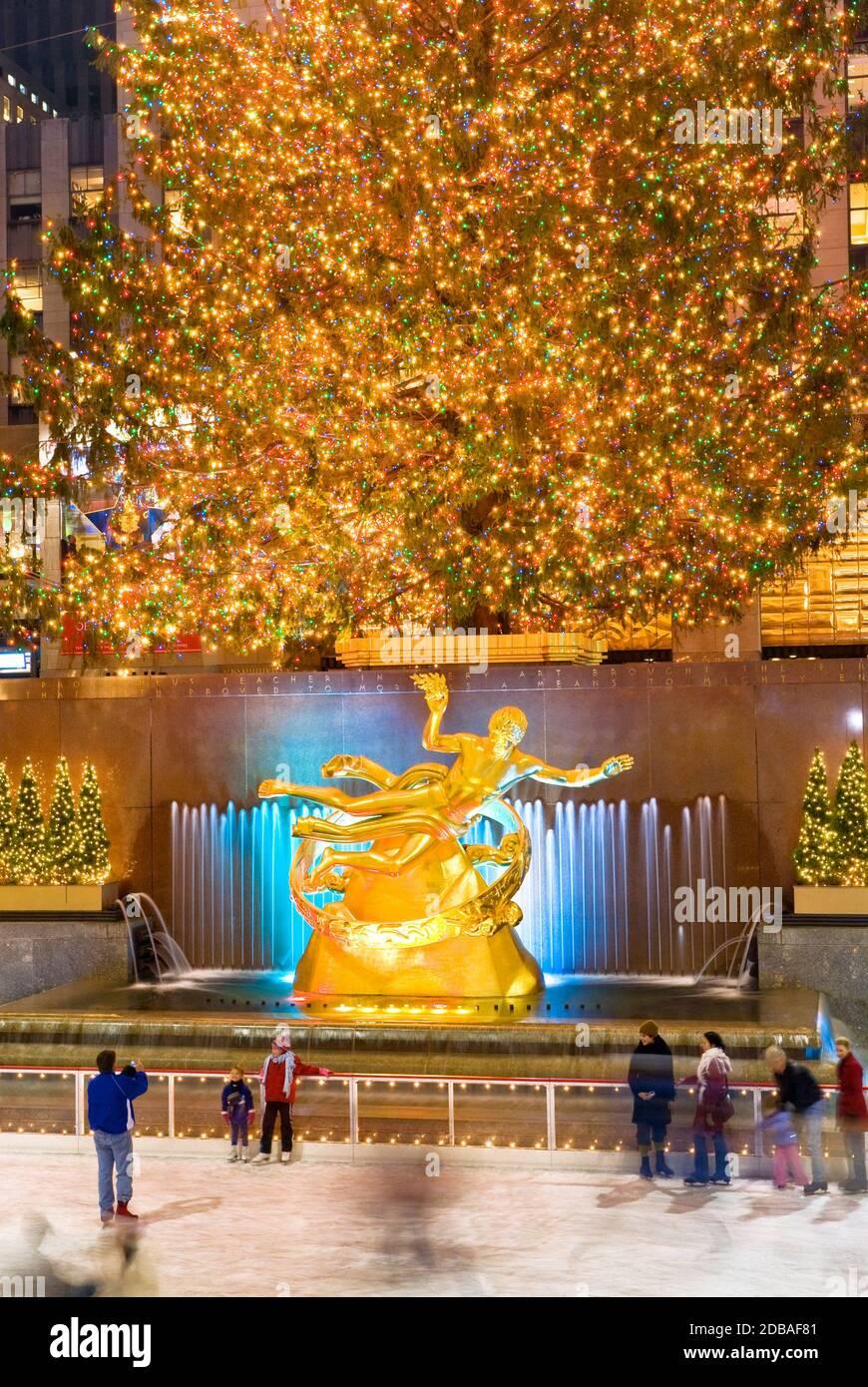 Rockefeller Plaza Rockefeller Center Skating Rink Christmas in New York Stock Photo