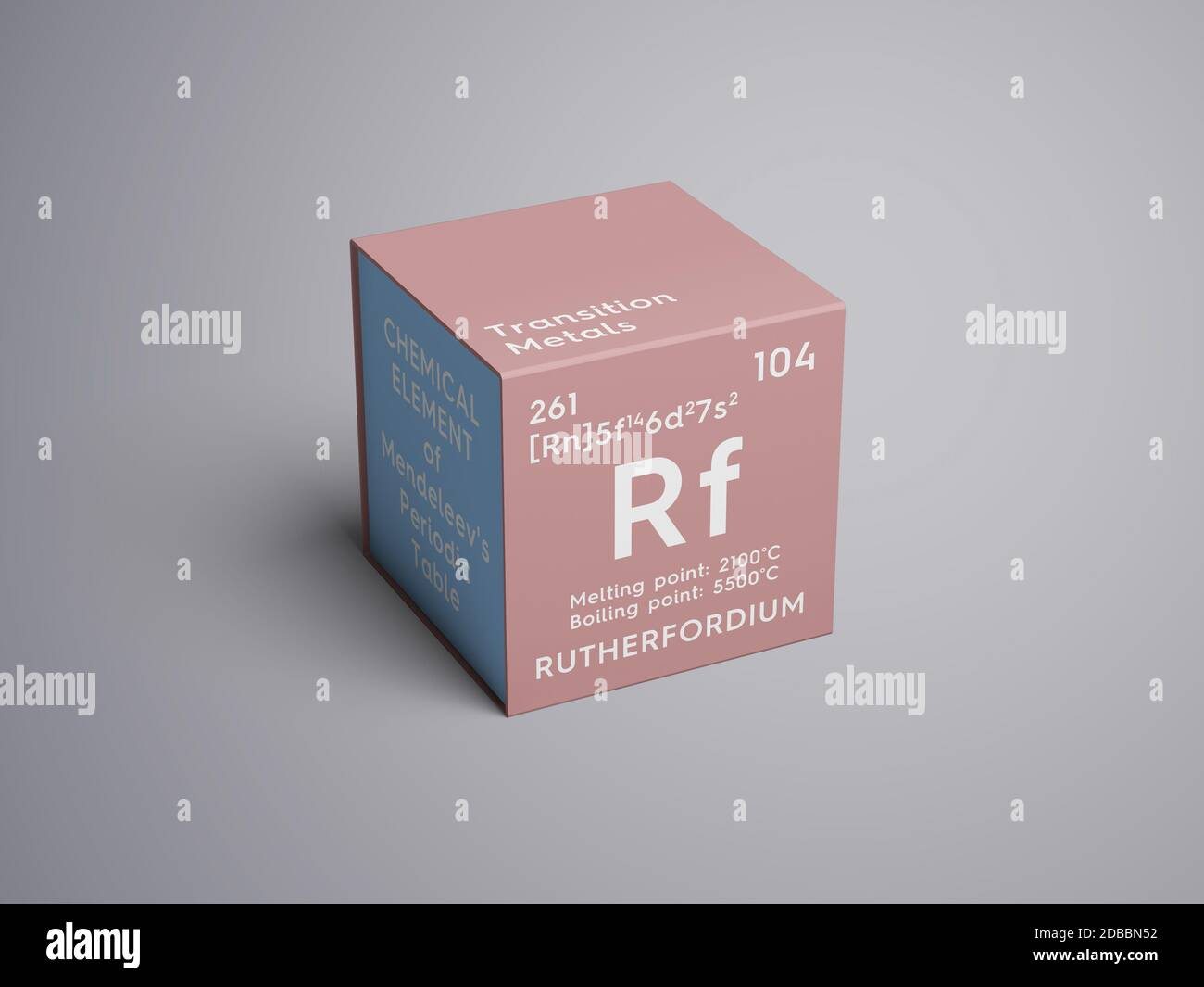 Rutherfordium. Transition metals. Chemical Element of Mendeleev's Periodic Table. Rutherfordium in square cube creative concept. 3D illustration. Stock Photo