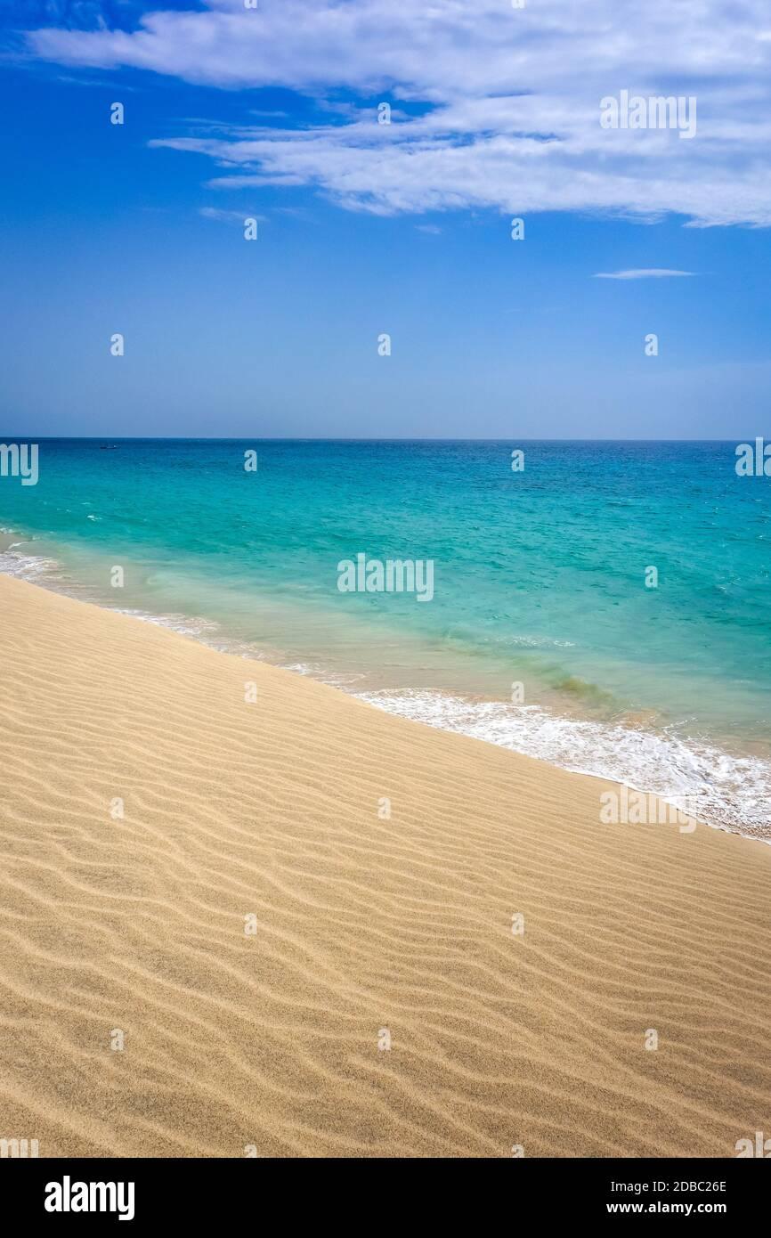 Ponta preta beach and dune in Santa Maria, Sal Island, Cape Verde, Africa Stock Photo