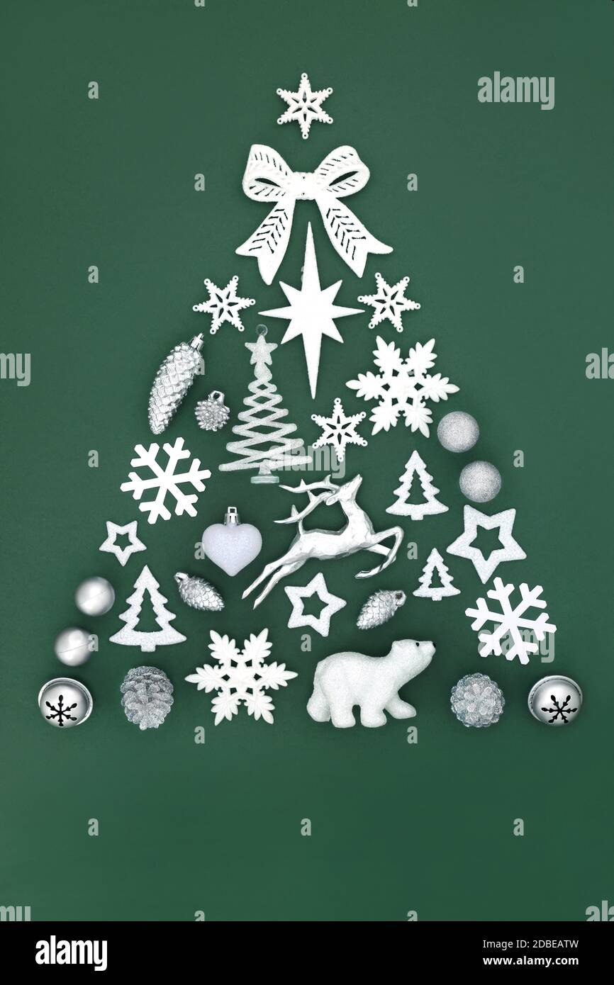 North Pole Themed Abstract Christmas Tree With Frosted Silver Bauble Decorations On Green Background Festive Symbols For The Holiday Season Stock Photo Alamy