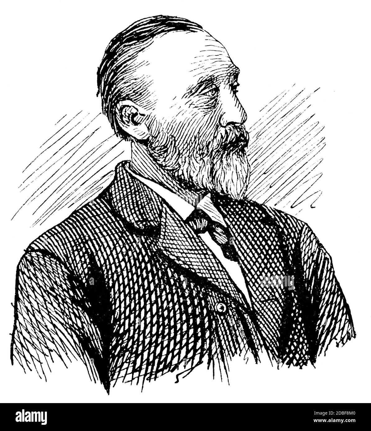 Portrait of Heinrich Stephan - a general post director for the German Empire. Founder of the Universal Postal Union in 1874. Illustration of the 19th Stock Photo
