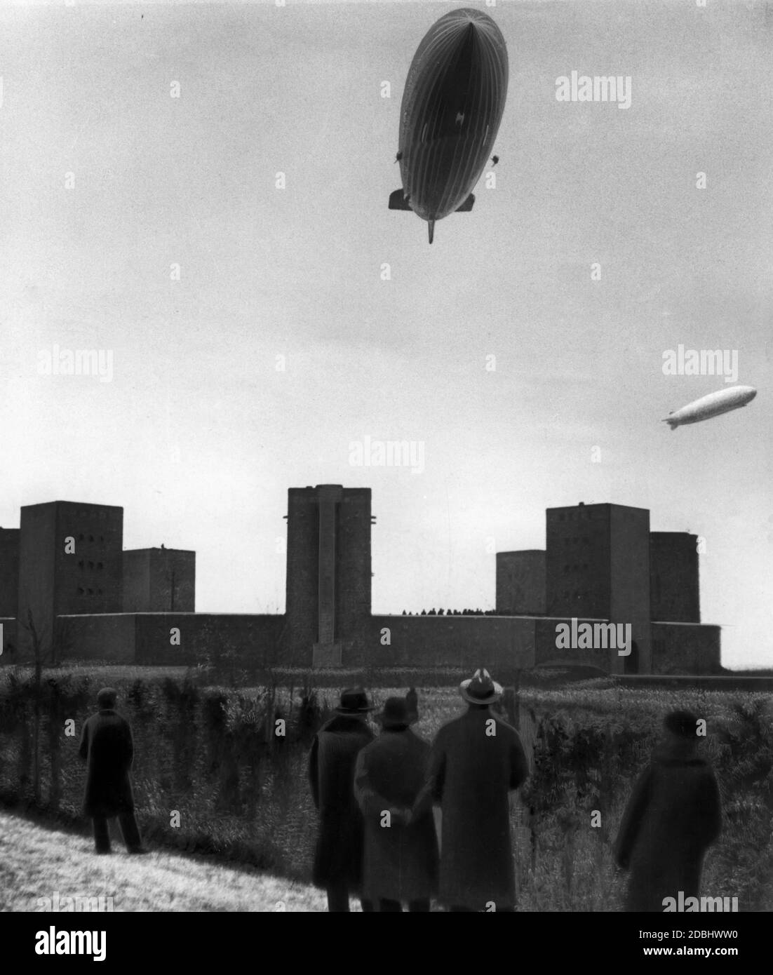 Hindenburg (LZ 129) and Graf Zeppelin (LZ 127) above the Tannenberg Monument in East Prussia - the burial place of Hindenburg. Stock Photo