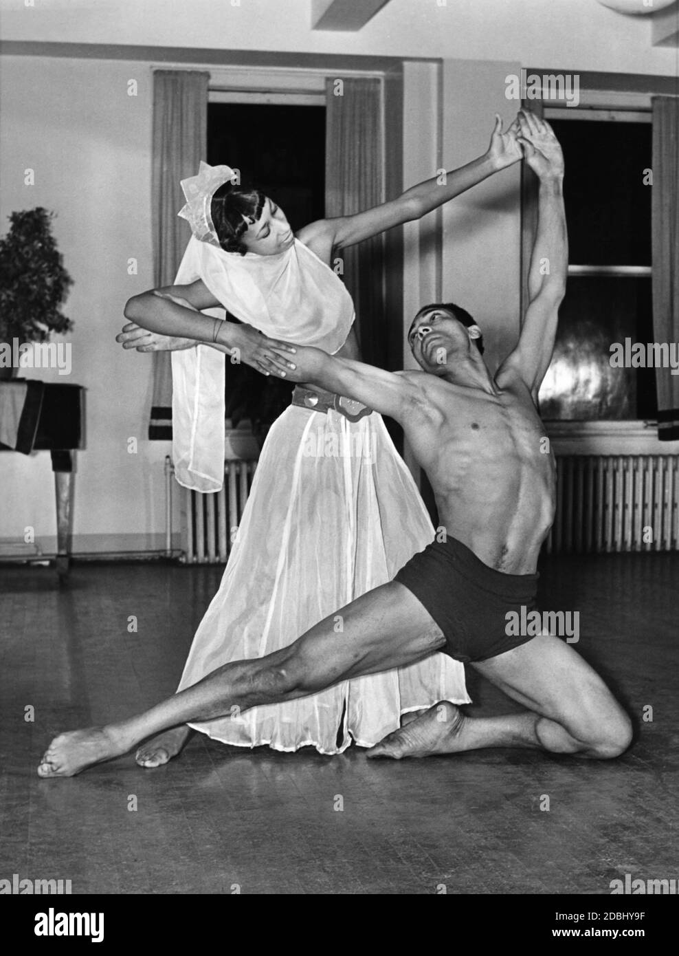 Dancers of the American Negro Ballet Company rehearse a few days before the premiere at the Lafayette Theatre in Harlem: Hazel Spence and Alfred Bledger. Stock Photo