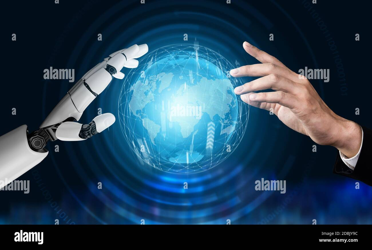 3D Rendering futuristic robot technology development, artificial intelligence AI, and machine learning concept. Global robotic bionic science research Stock Photo