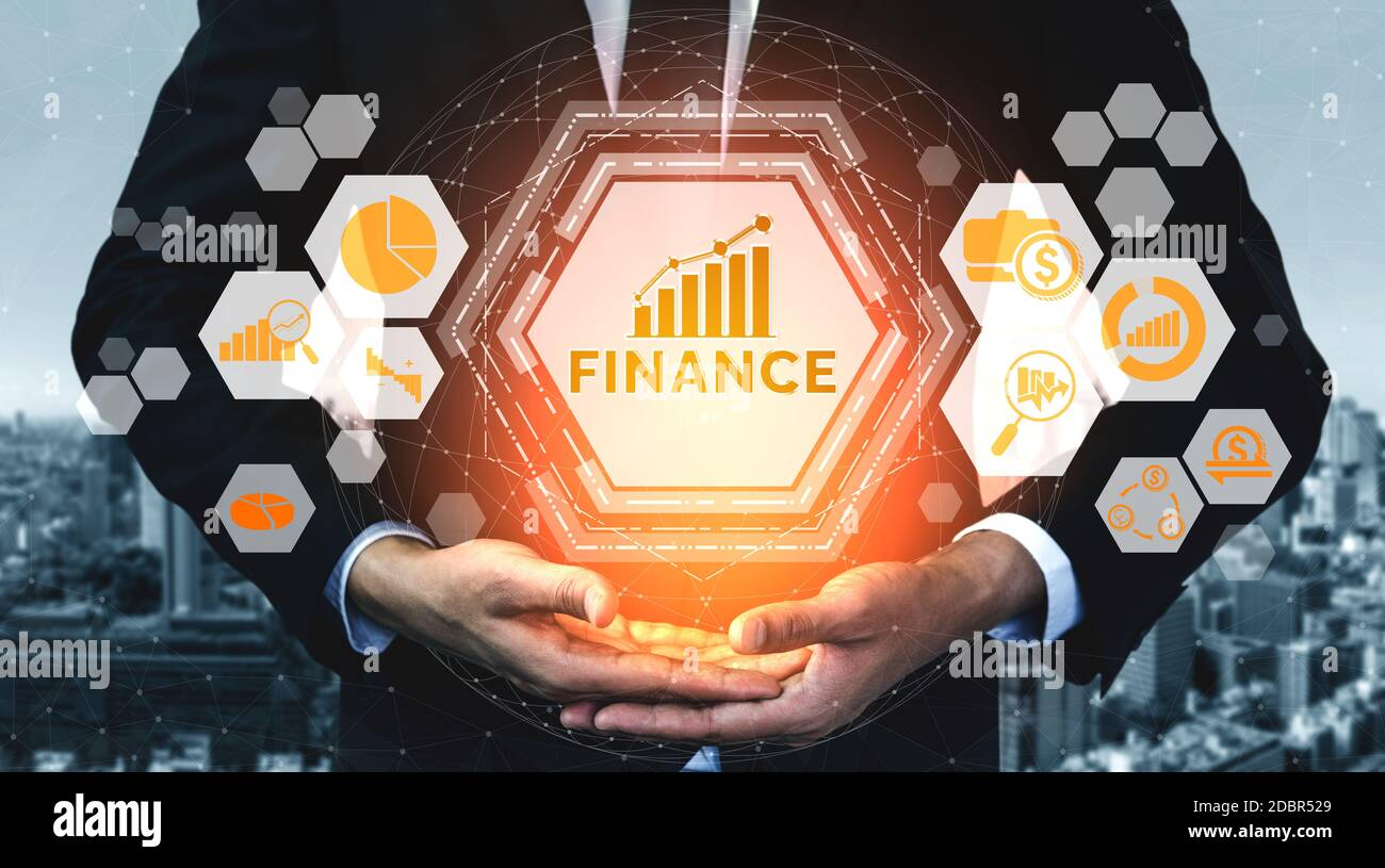 Finance and Money Transaction Technology Concept. Icon Graphic interface showing fintech trade exchange, profit statistics analysis and market analyst Stock Photo