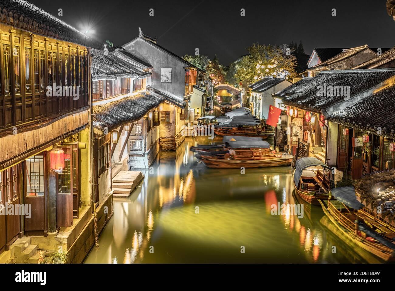 Night view of Zhouzhuang, an ancient Chinese watertown in Suzhou, China. Stock Photo