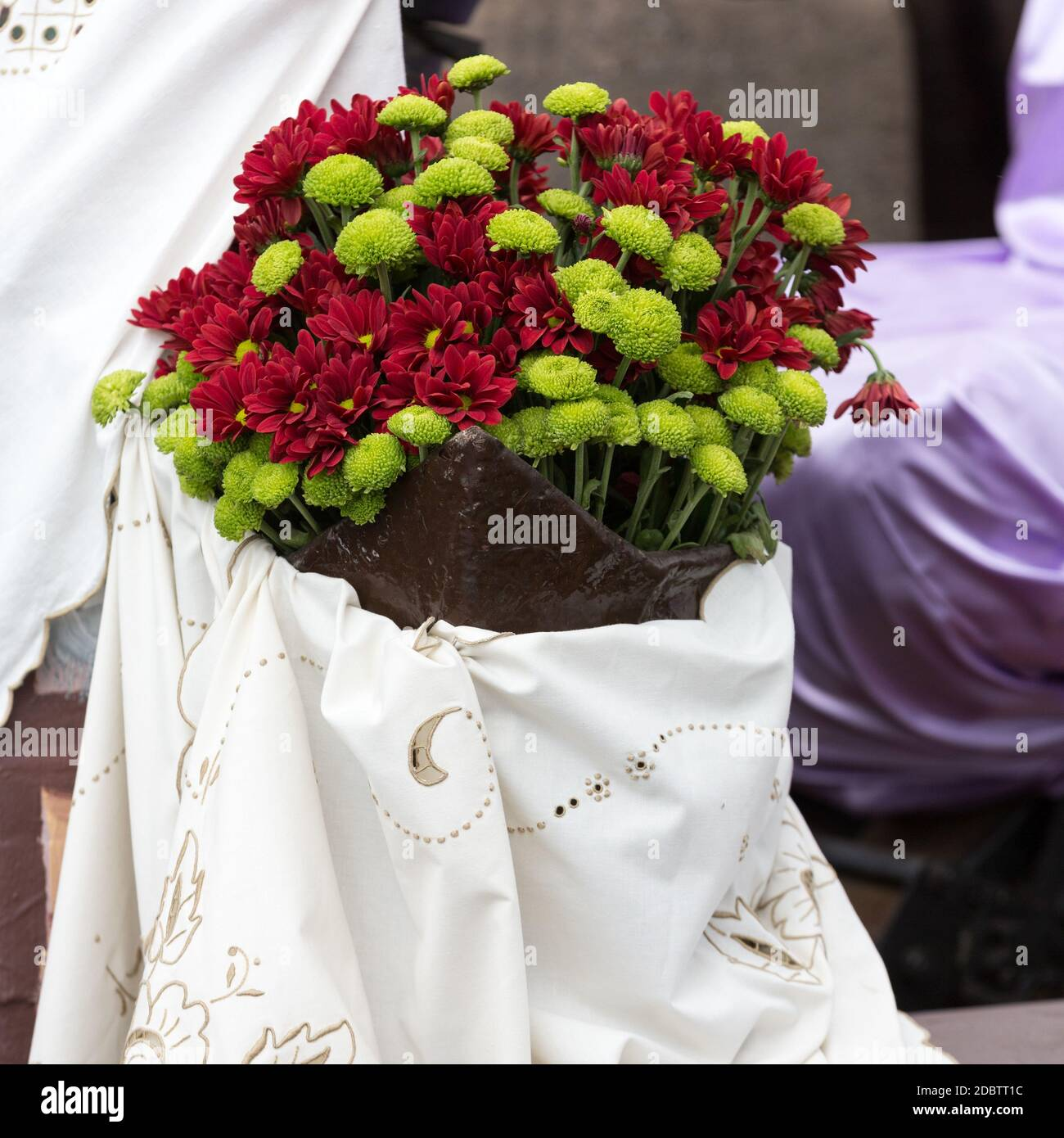 Decorations with flowers during Madeira Wine Festival - Historical and Ethnographic parade in Funchal on Madeira. Portugal Stock Photo