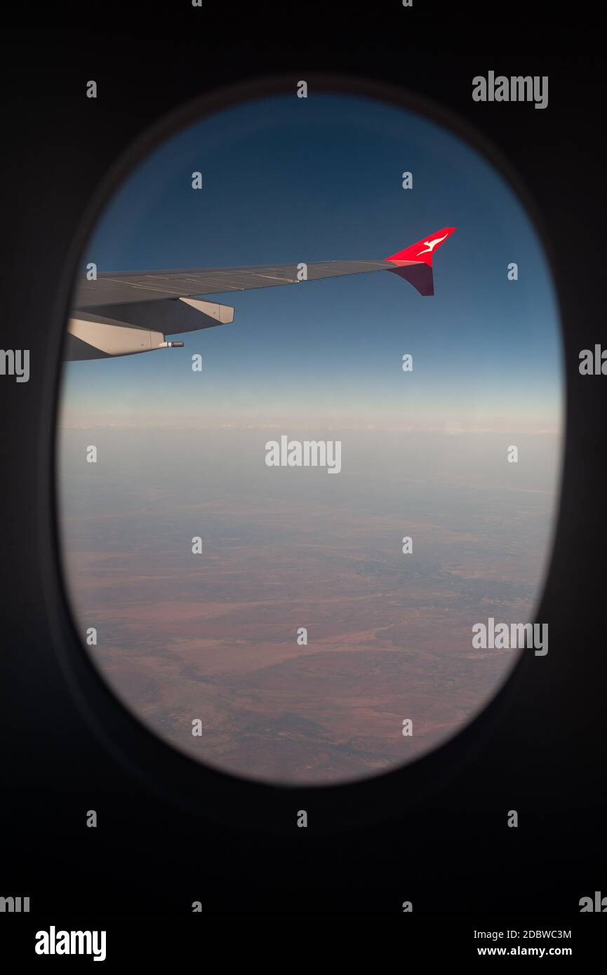 28.09.2019, Sydney, New South Wales, Australia - View out of a plane window on a Qantas Airways flight from Sydney to Singapore in an Airbus A380-800. Stock Photo