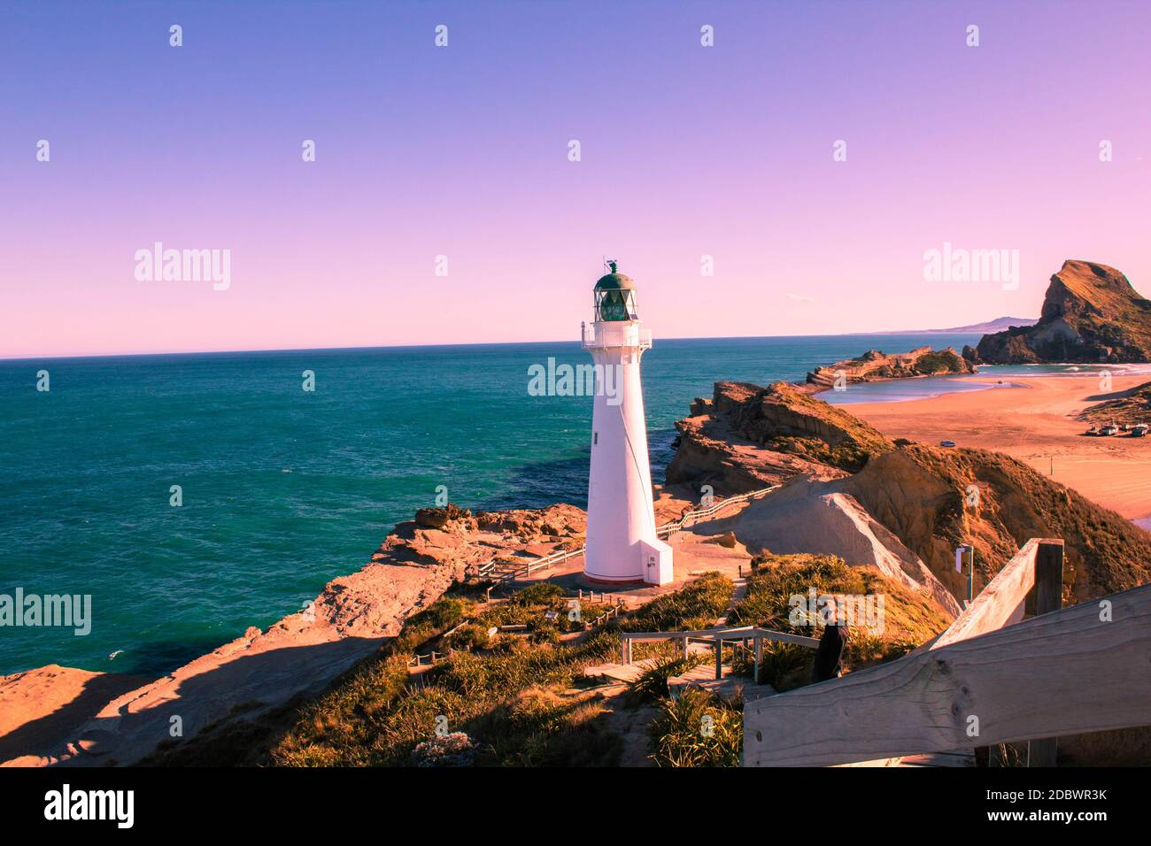 Castle Point Lighthouse, New Zealand Stock Photo