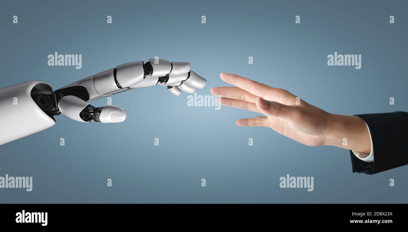3D rendering artificial intelligence AI research of robot and cyborg development for future of people living. Digital data mining and machine learning Stock Photo