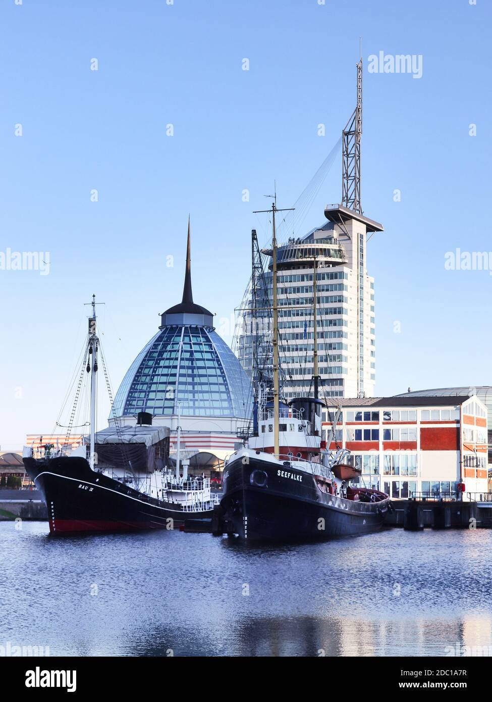BREMERHAVEN, GERMANY - MAY 15, 2018: Bremerhaven cityscape with Harbor Worlds, a maritime tourism center. Stock Photo