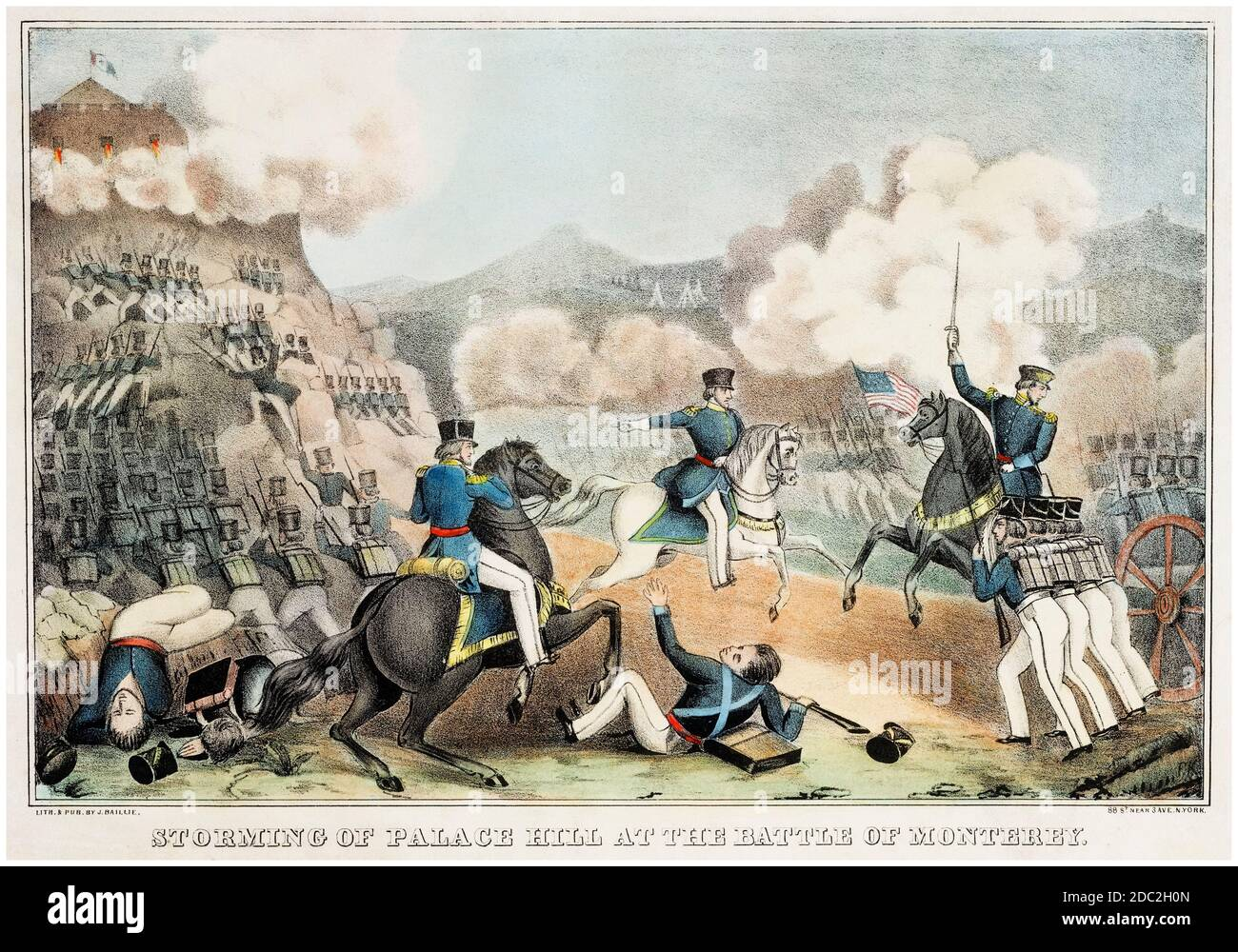 Storming of Palace Hill at the Battle of Monterey, 7th July 1846, during the Mexican–American War (1846-1848), print by James Baillie, before 1899 Stock Photo