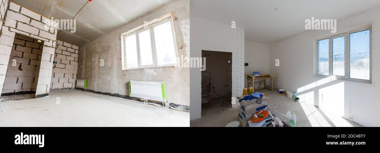 construction of the wooden frame of a roof Fibrerglass insulation installed in the sloping ceiling of a house. Construction of Drywall-Plasterboard Stock Photo