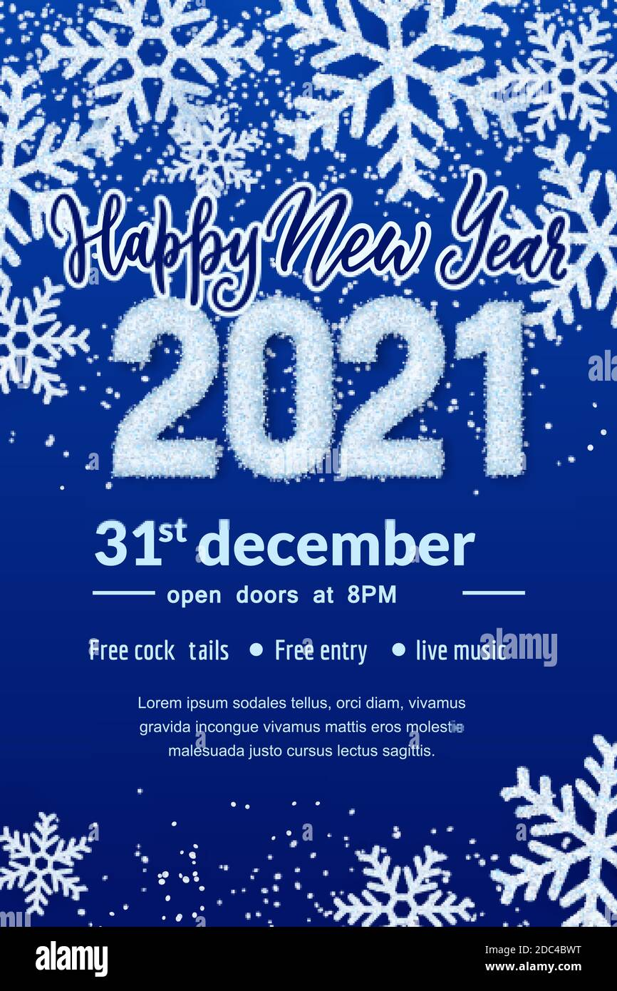 Happy New Year 2021 party banner poster template. Holiday flyer layout with place for text. Vector illustration. White snow numbers on winter abstract Stock Vector