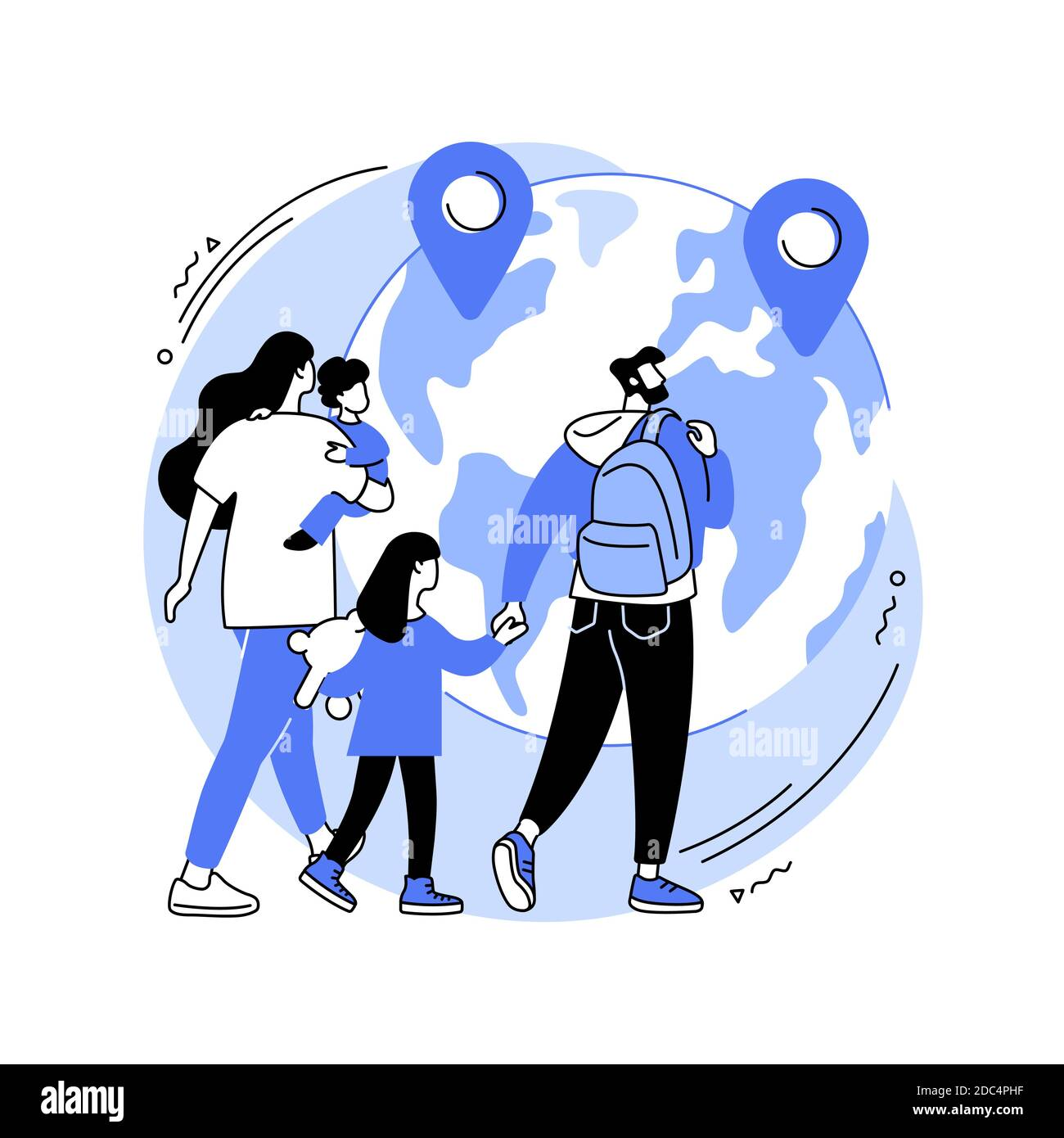 Refugees abstract concept vector illustration. Stock Vector