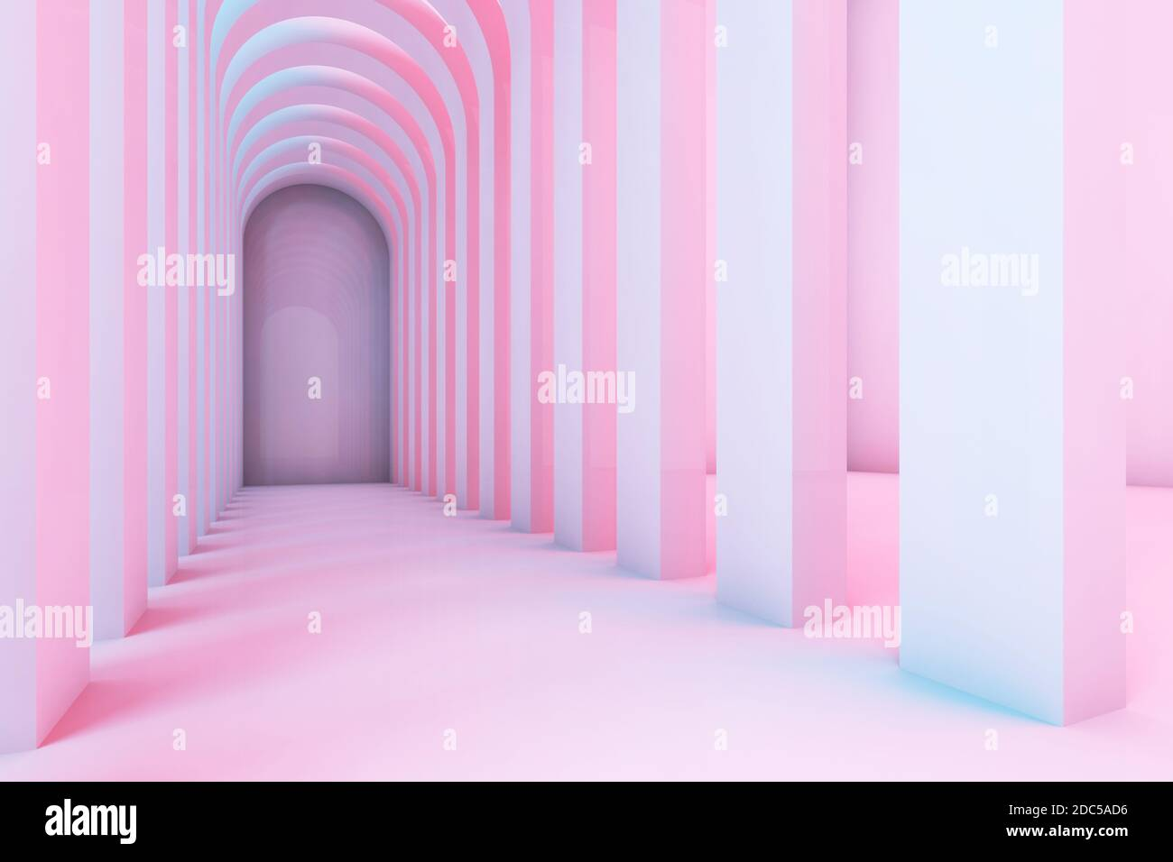 Empty corridor of arches with colorful illumination, abstract interior background. 3d rendering illustration Stock Photo