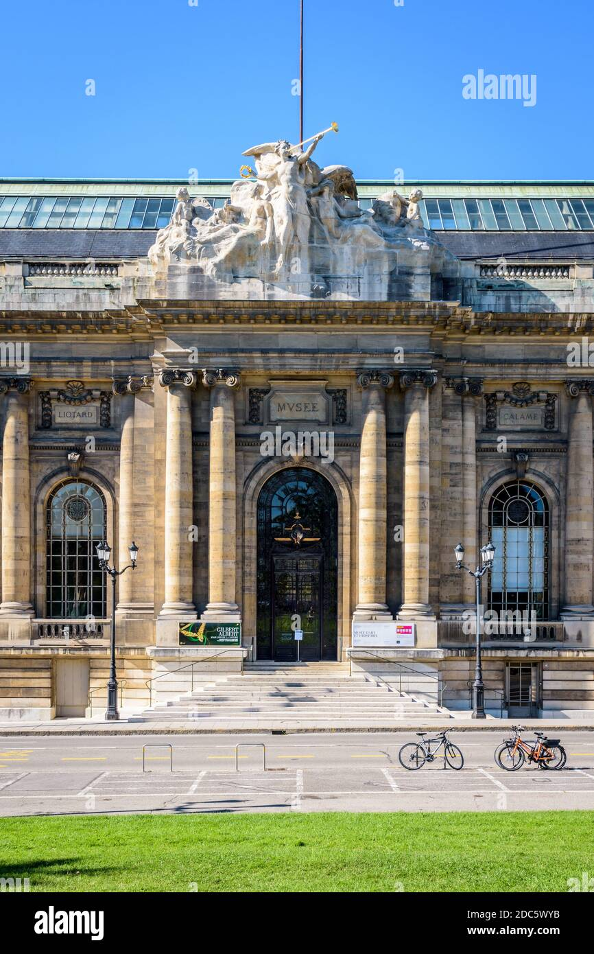 Front view of the entrance of the Museum of Art and History in Geneva on a sunny summer morning. Stock Photo