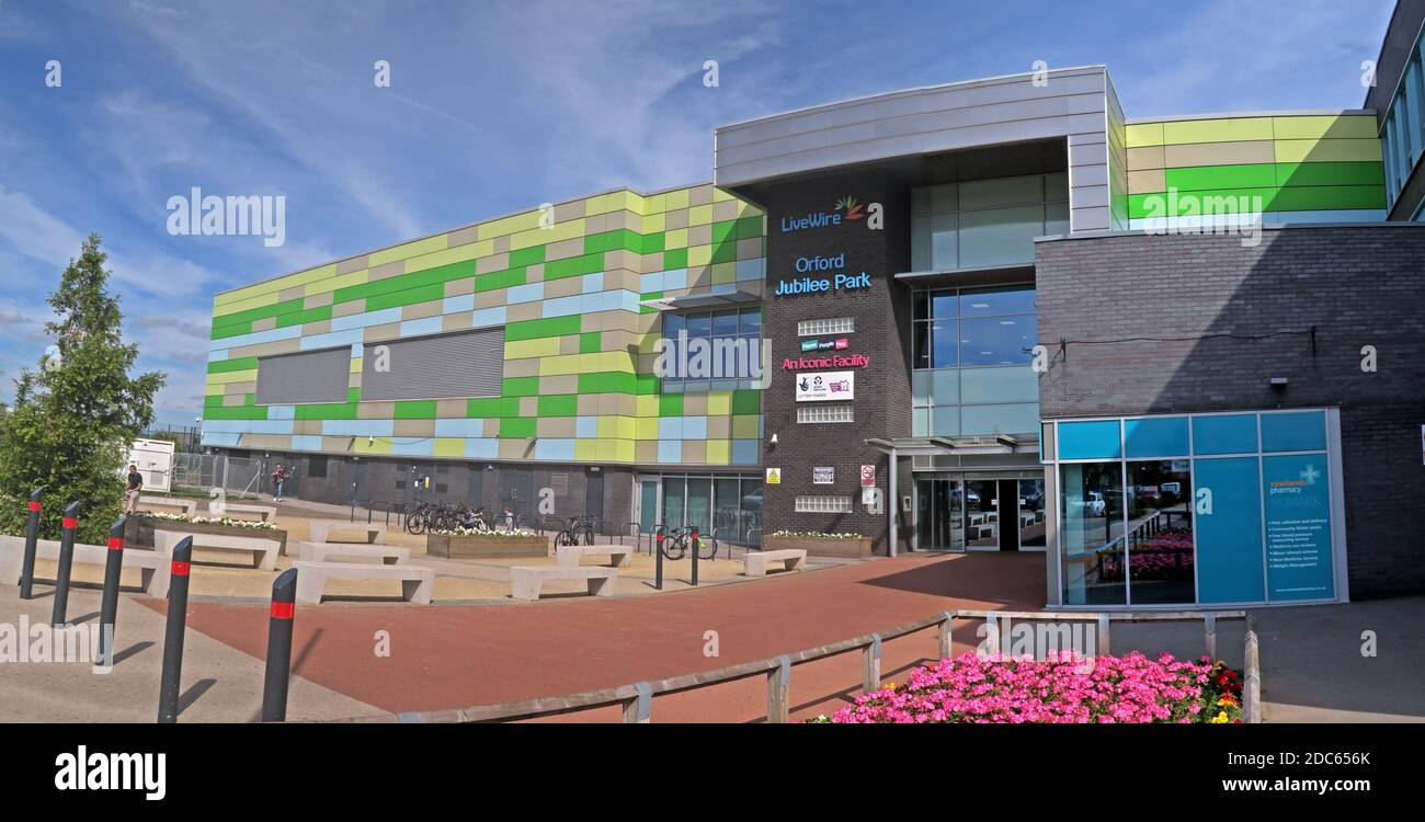 Orford Jubilee park Hub Warrington,Livewire, Swimming pool, gym, exercise,£30m Orford Park complex Stock Photo