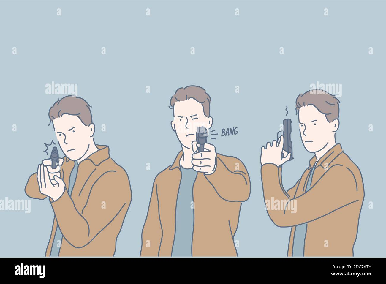 Selfdefense, criminal, shot, set concept. Dangerous young criminal takes gun, intented to kill. Serious killer took shot and hit target. Focused man p Stock Vector