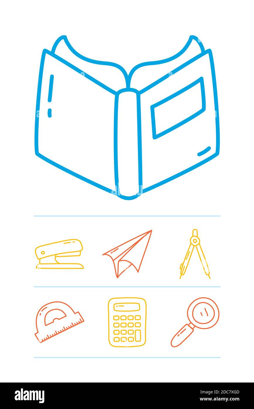 book and stationary icon set over white background, line doodle style, vector illustration Stock Vector