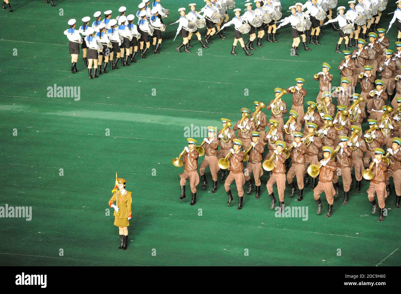 08.08.2012, Pyongyang, , North Korea - A military band will play brass music during the Arirang Festival and the mass games in the North Korean capita Stock Photo